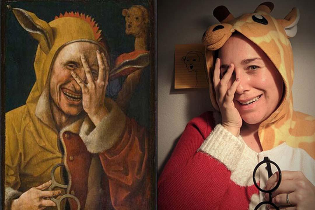 """Détournement du tableau """"Laughing Fool"""" de Werner van den Valckert"""